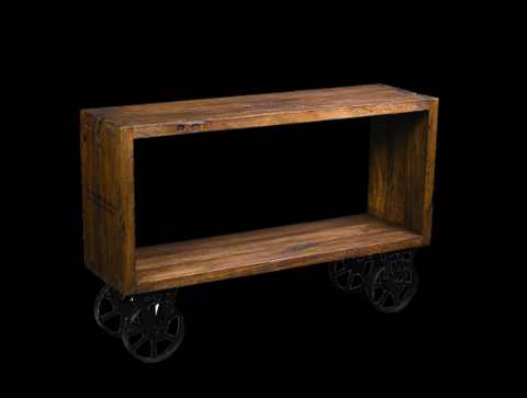 Industrial cube console on wheels