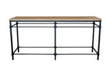 Industrial parquetry top console table.