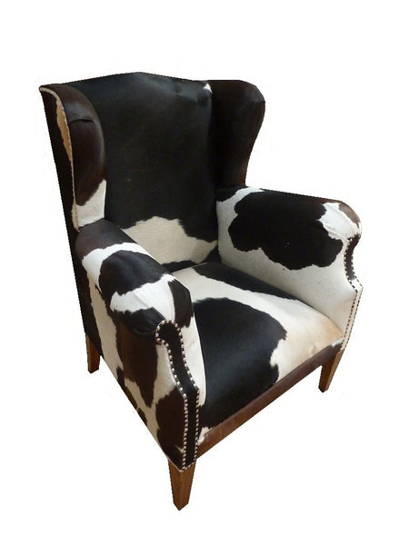 Cowhide Wingback Accent Chair Jack Horner Interiors
