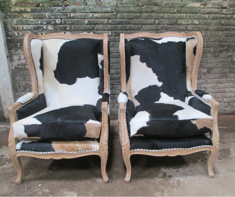 French style cowhide accent chair