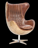 "Leather and metal industrial style ""egg"" accent chair"