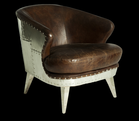 industrial style leather accent chair