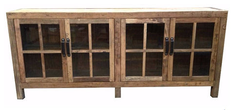 Industrial recycled timber glass front buffet