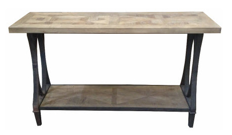Industrial style console table with bottom shelf.