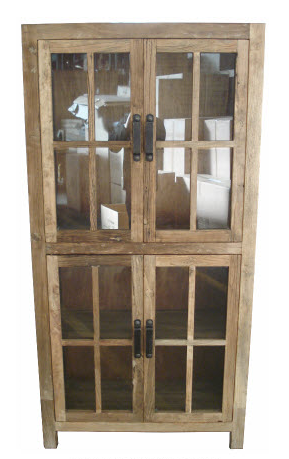 Industrial style cabinet with glass doors.