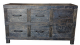 Industrial style rustic 6 drawer unit.
