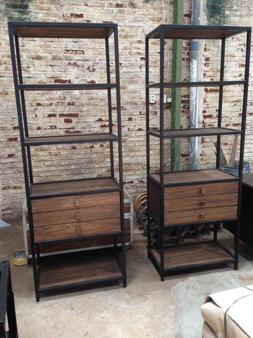 Industrial shelves with drawers.