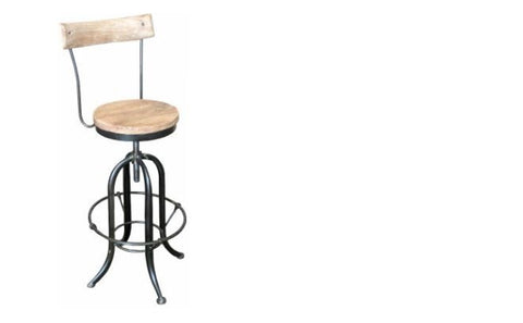 Industrial style barstool with back rest.