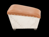 Industrial style leather ottoman to match accent chair