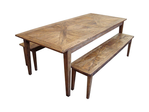 Parquetry top dining table