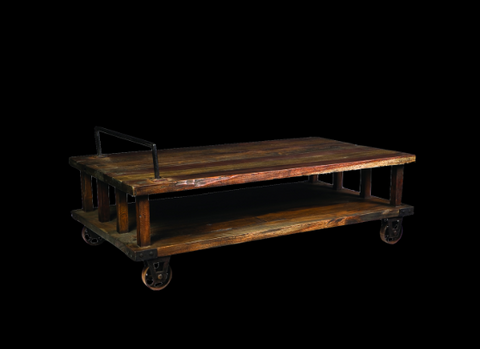 Industrial double platform coffee table on wheels.