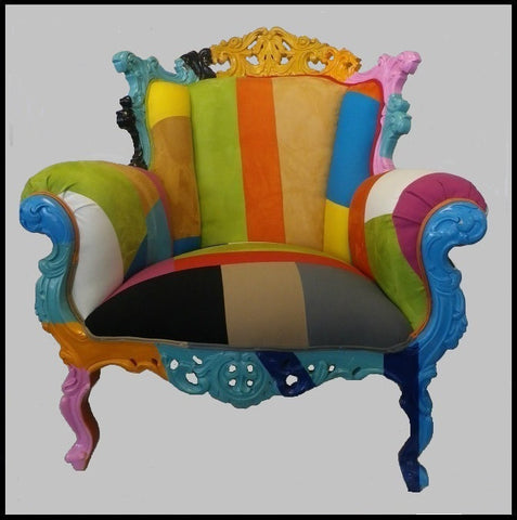 Rainbow Rococco French Style Accent Chair