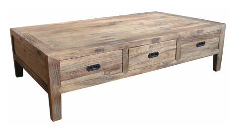Industrial style 6 drawer coffee table