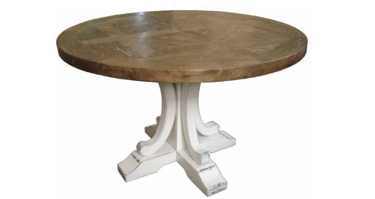 French style parquetry top round dining table Jack Horner Interiors