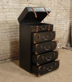 Industrial vintage suitcase chest of drawers.