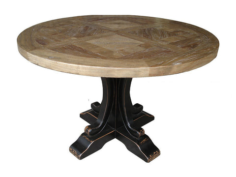 French style parquetry top round dining table