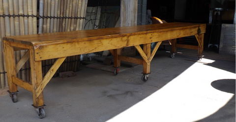 Vintage industrial wool sorting table.
