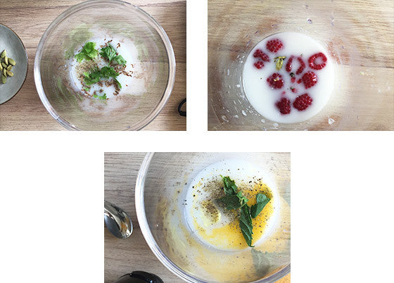 Steps to make lassi, an Indian yoghurt drink, with raspberries, turmeric and coriander
