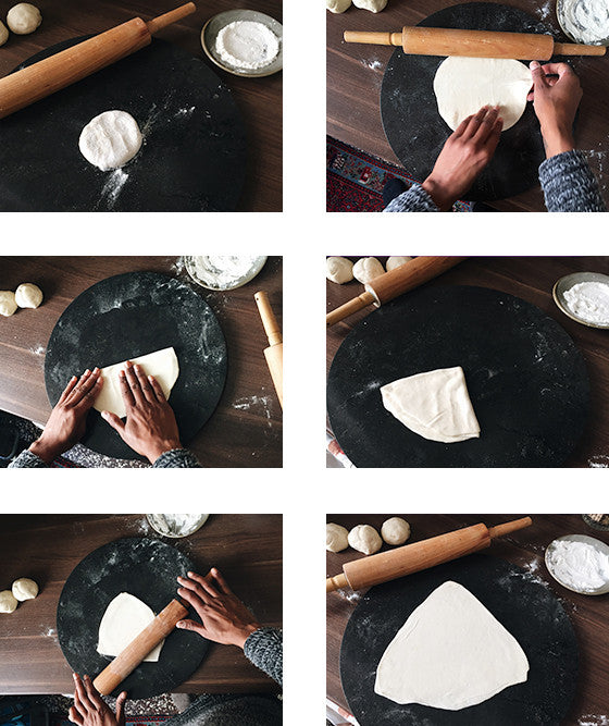 a step by step demonstration of how to roll rotis or chapatis, Indian style unleavened bread made in a pan