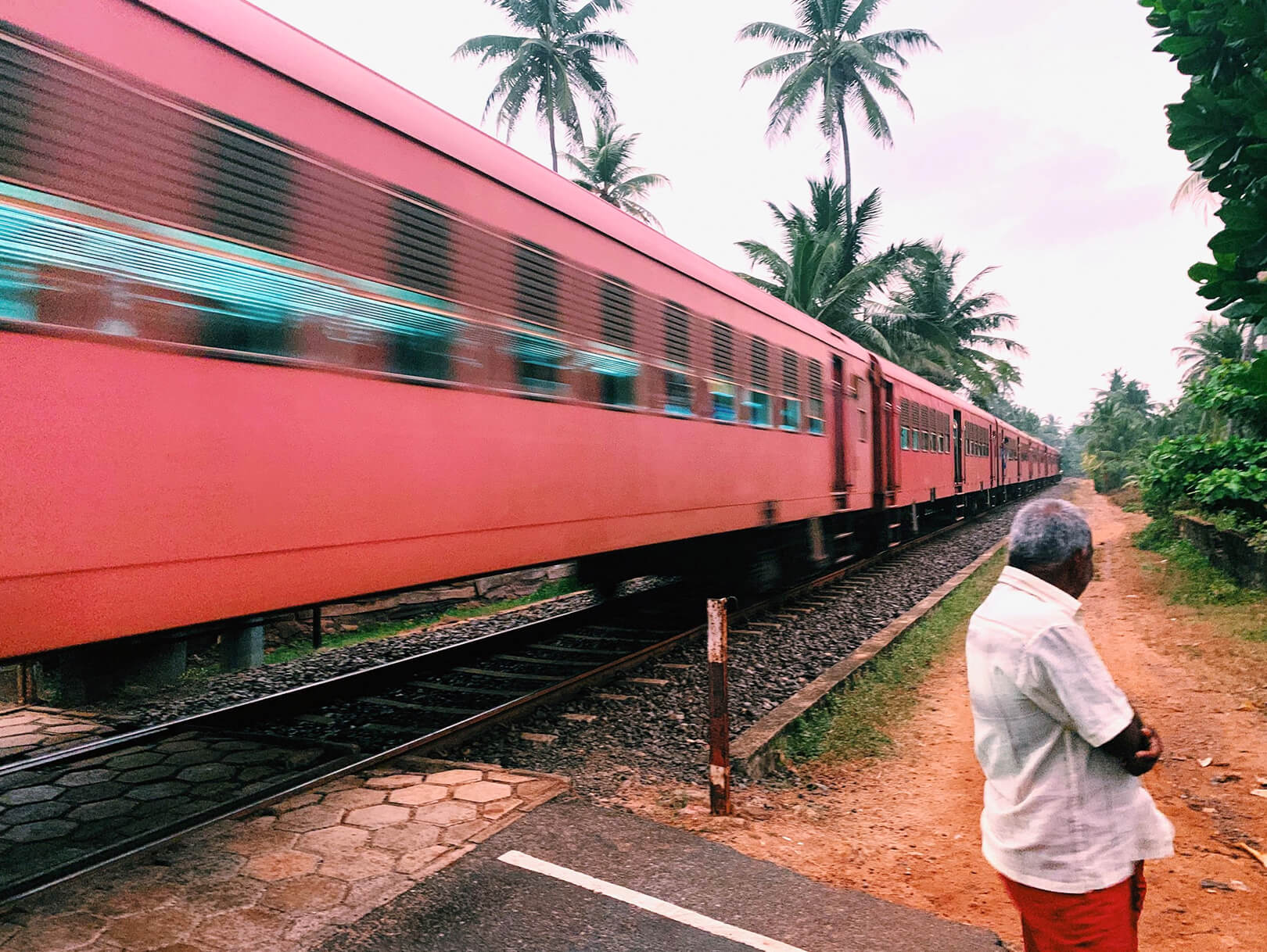 a train speeding past in south sri lanka in the village of boosa