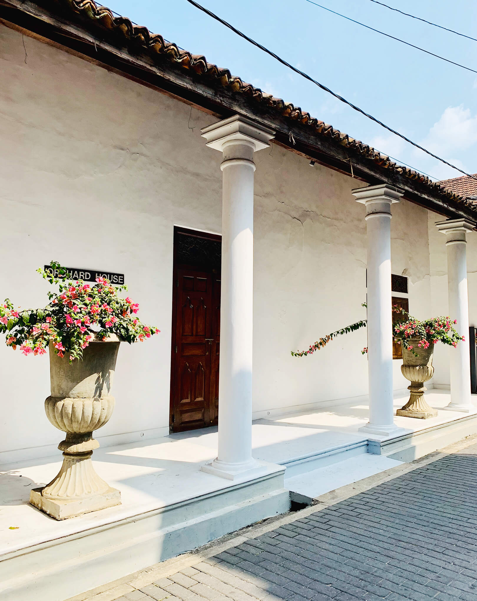 A traditional Sri Lankan house in the Dutch Fort area of Galle with flowering plants