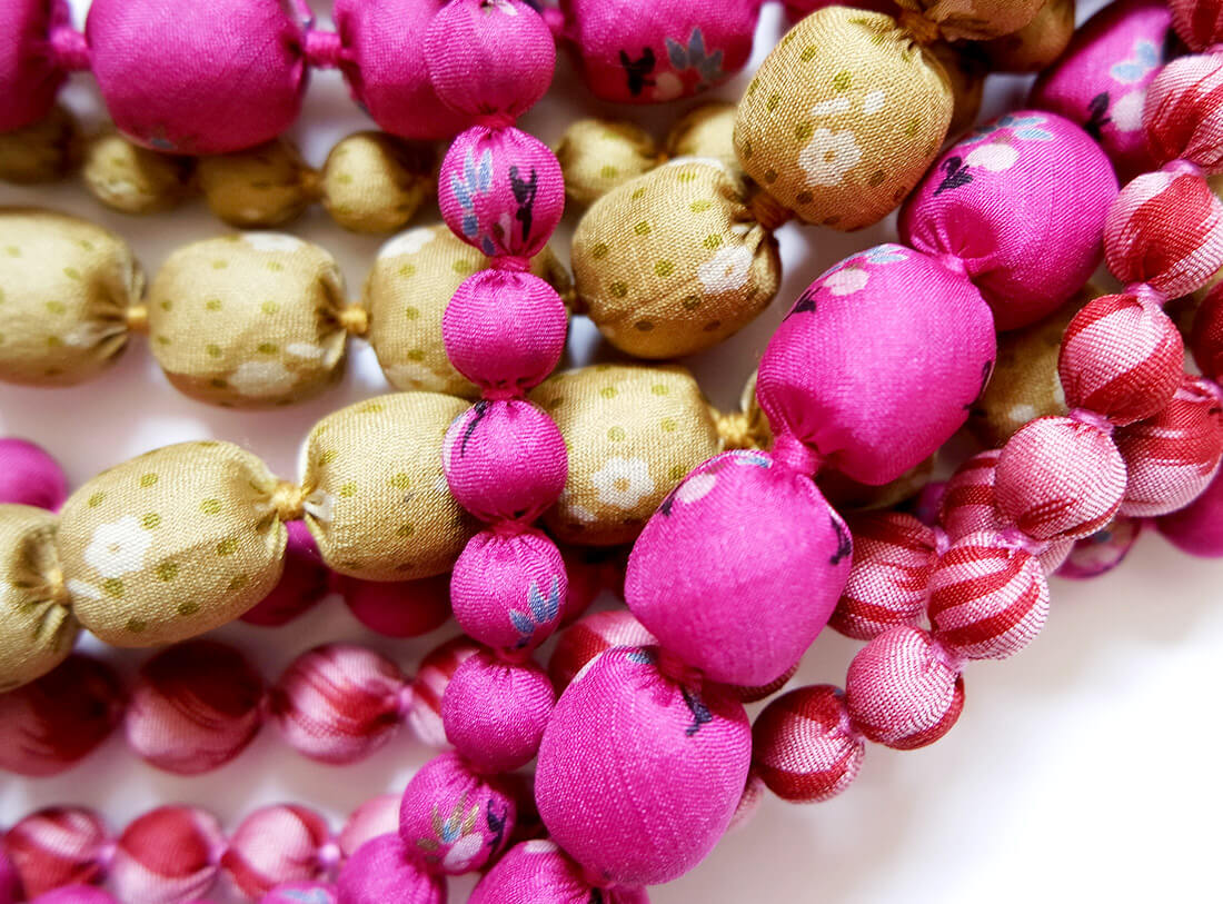 iris multi strand necklace pink