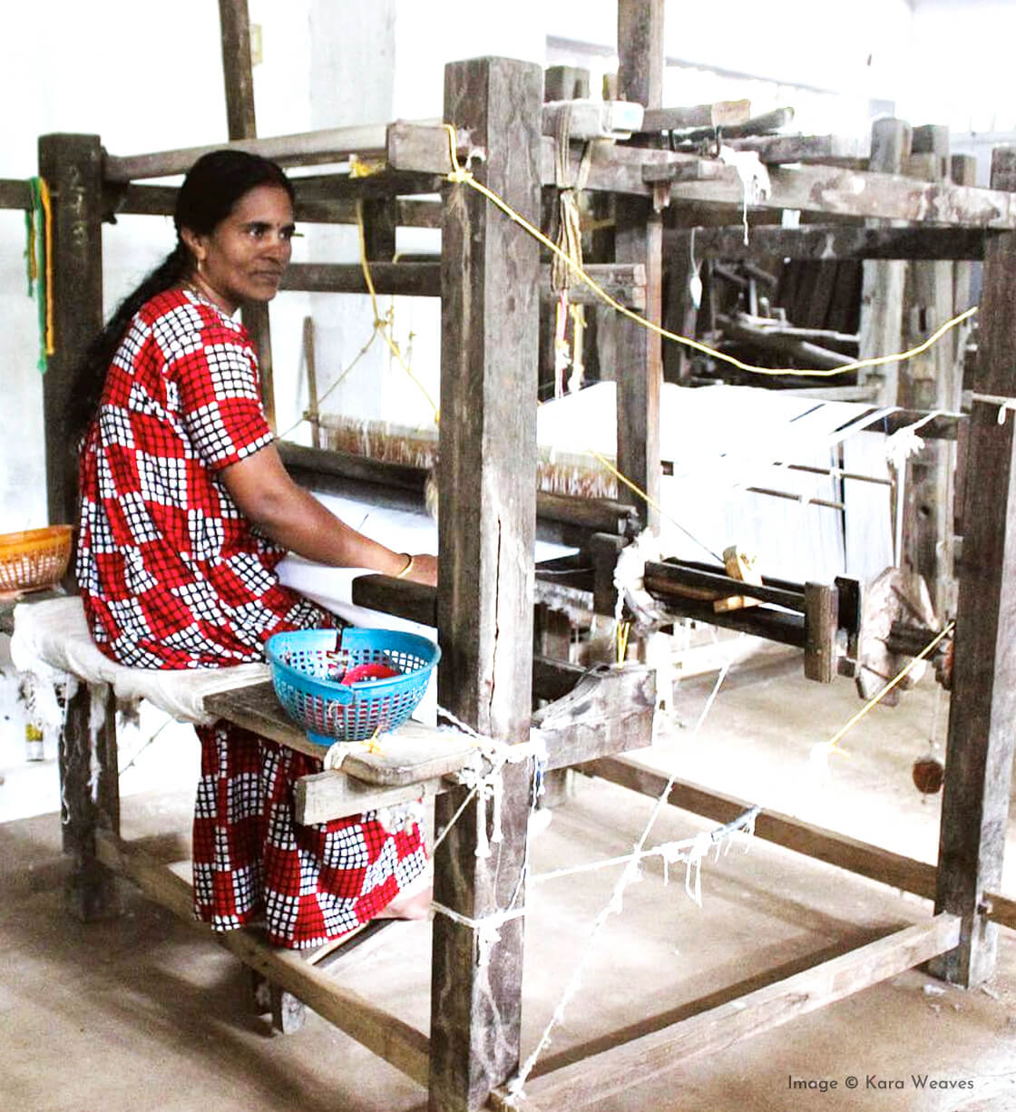 indian goods co blog origins of products handmade in india ethically produced sustainable considered living handwoven Thortu fabric kerala south india handloom woman weaver kara weaves