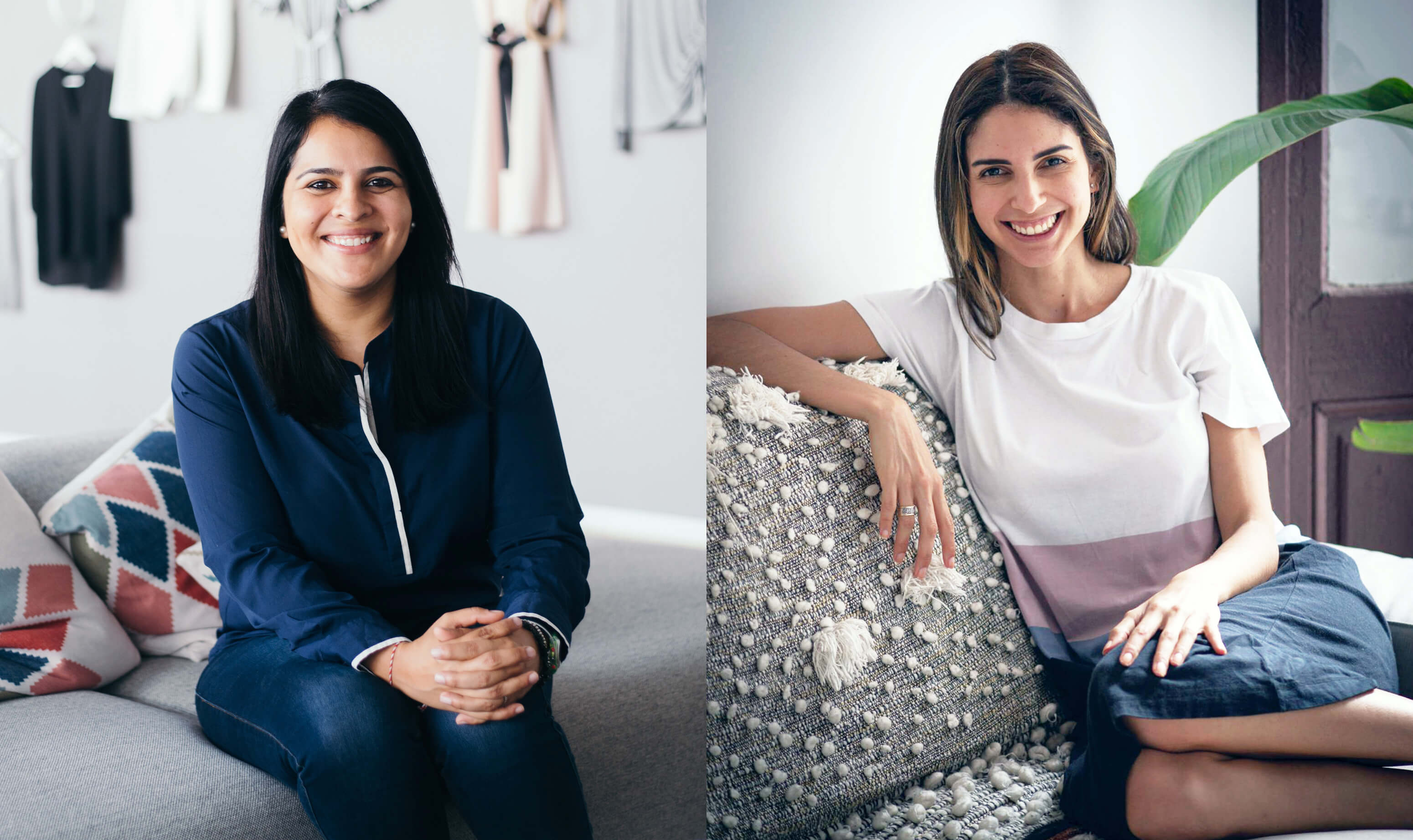 portrait photos of two women with dark hair in front of light walls wearing a blue jacket and a white t-shirt