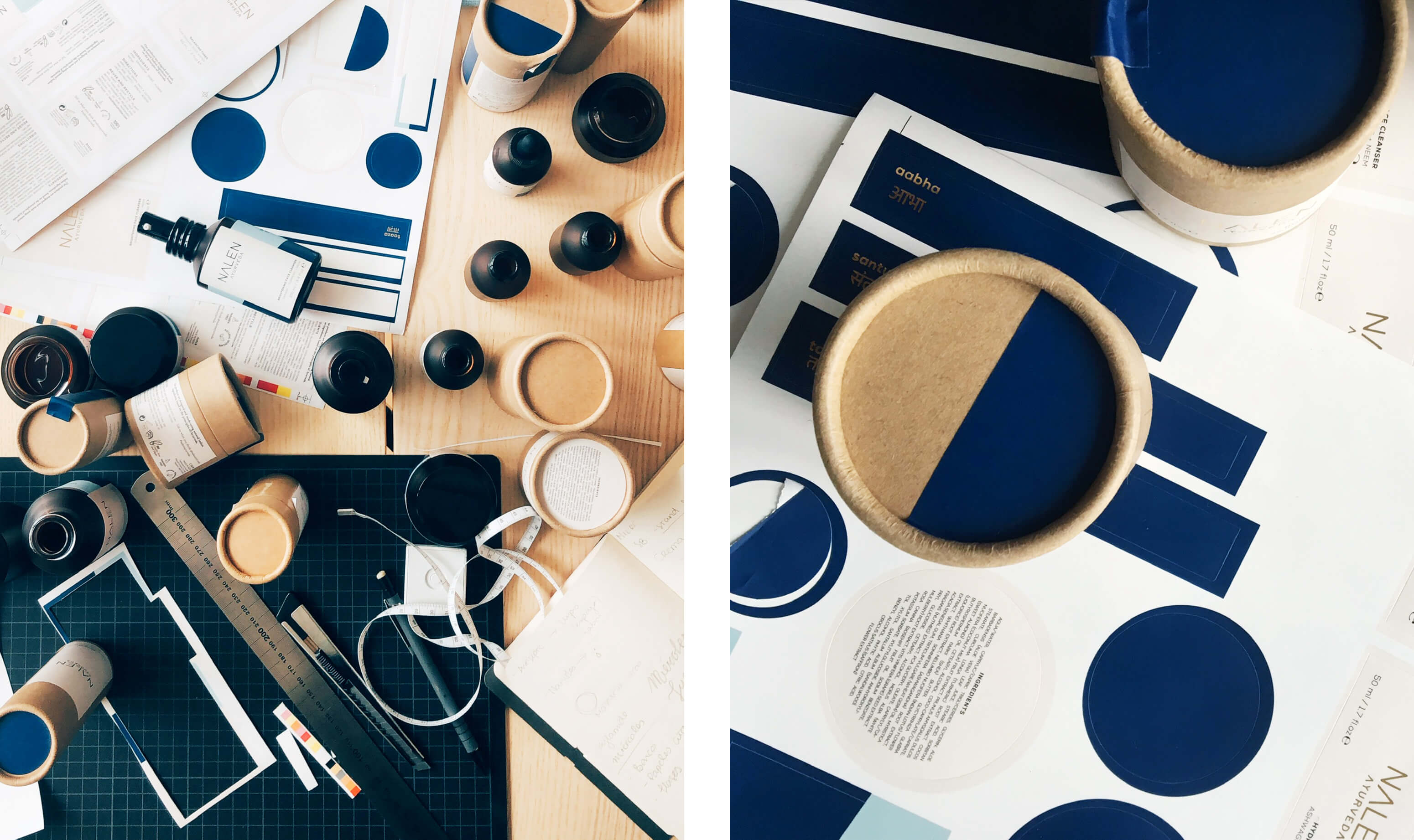 overhead shot of printed blue labels and cardboard packaging tubes on a der with a cutting mat and scalpel