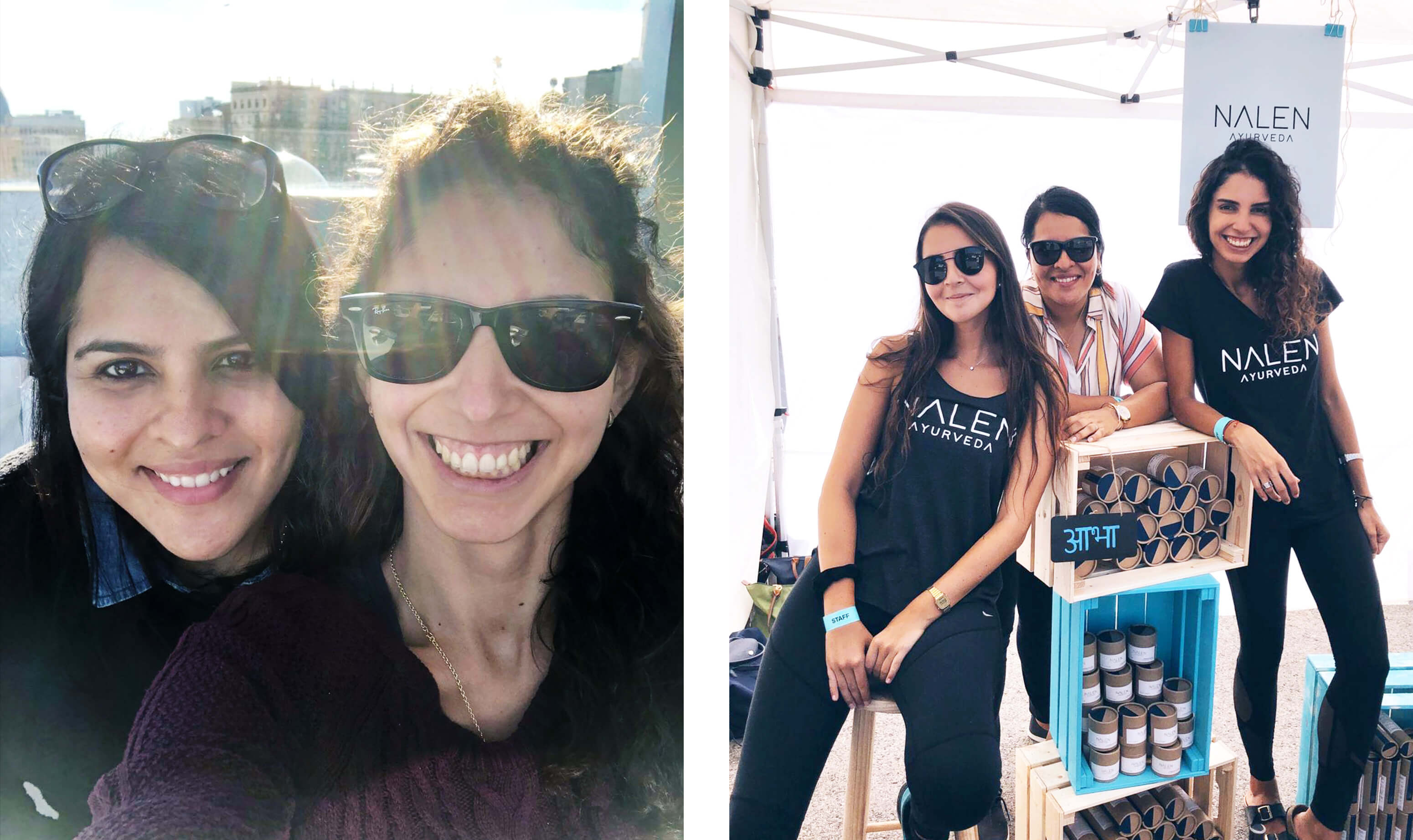 two young women with dark hair taking a selfie and three young women wearing black tee shirts posing with skincare products