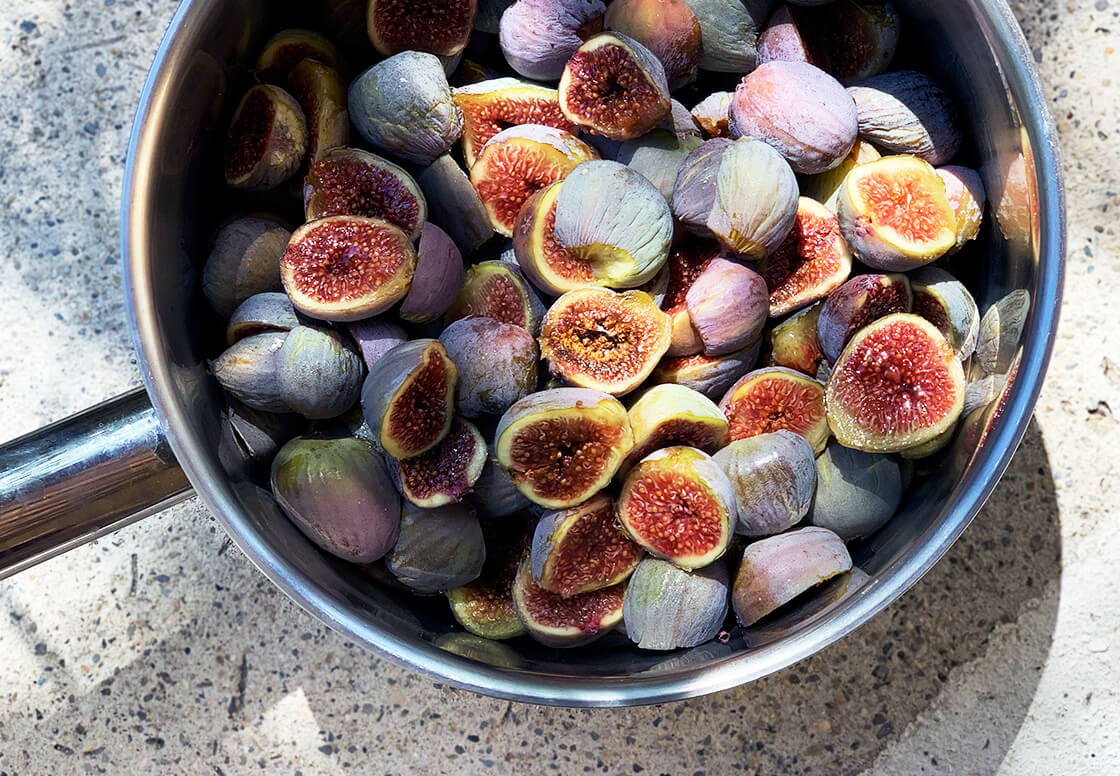 cut ripe purple and green figs in France for a chunky fig chutney spiced with coriander and mustard, low on sugar and high on flavour. Wholefood plant based vegan and vegetarian