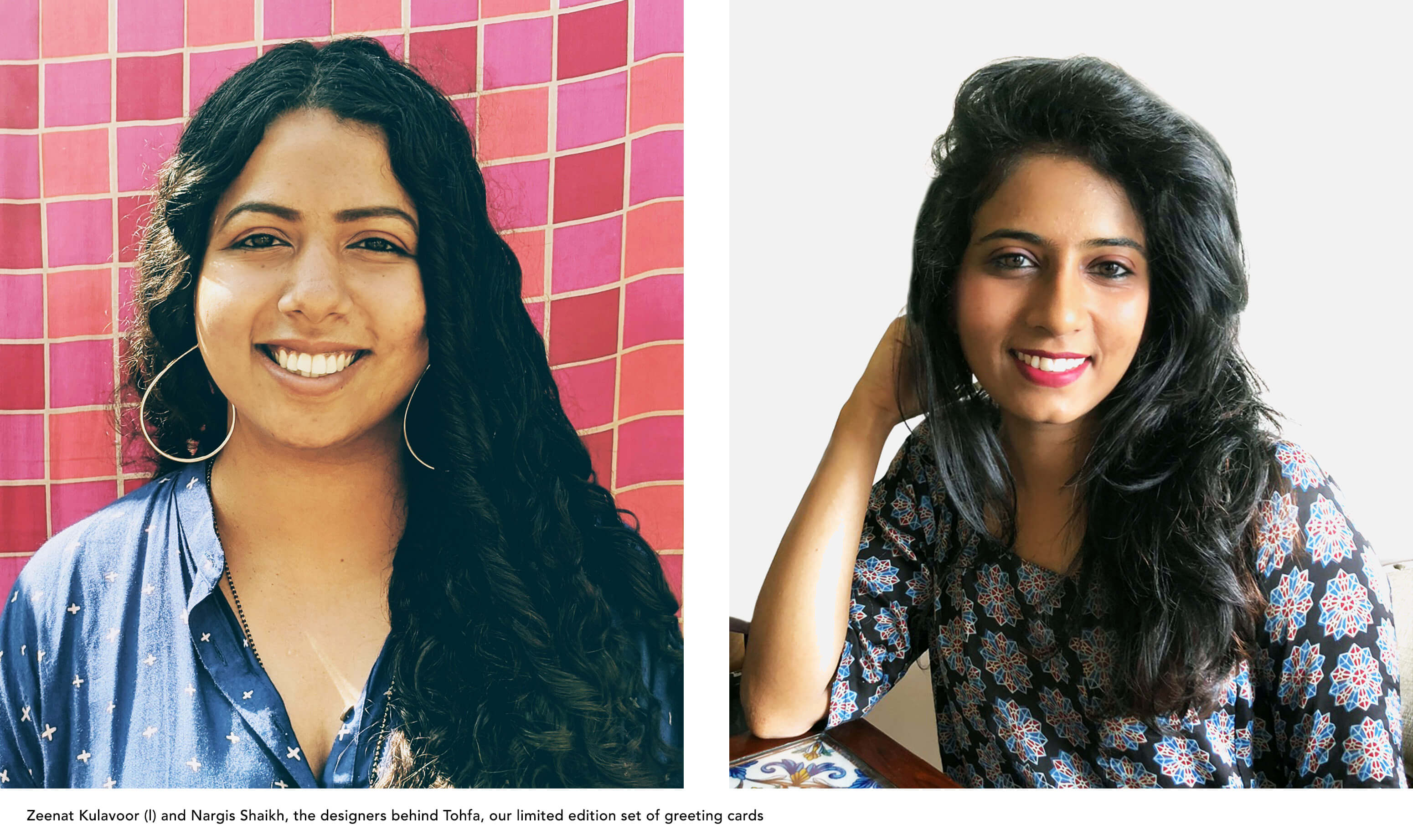 Portaits of two young Indian women with dark skin and long black hair against a bright pink background