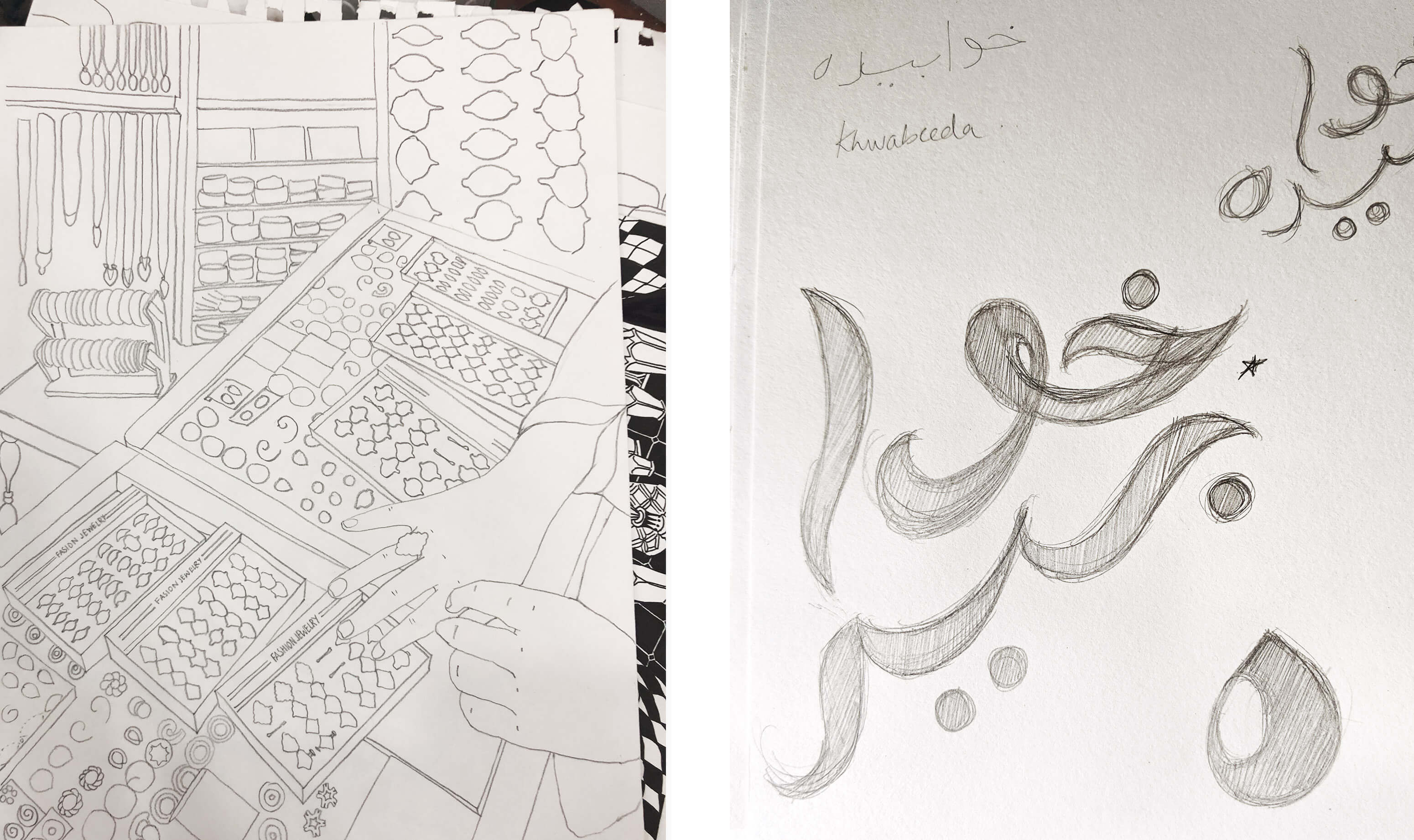 Hand drawn sketches in pencil on white paper showing a shop interior and urdu calligraphy
