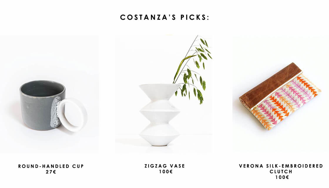 visual storyteller and illustrator costanza colletti's favourite products from Indian Goods Co. include the round-handled cup, the zigzag vase and the verona silk-embroidered clutch