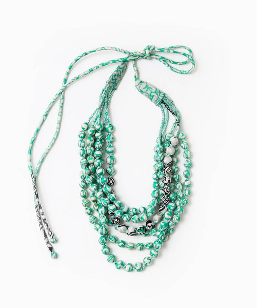 Multi-strand Sari Necklace - Green