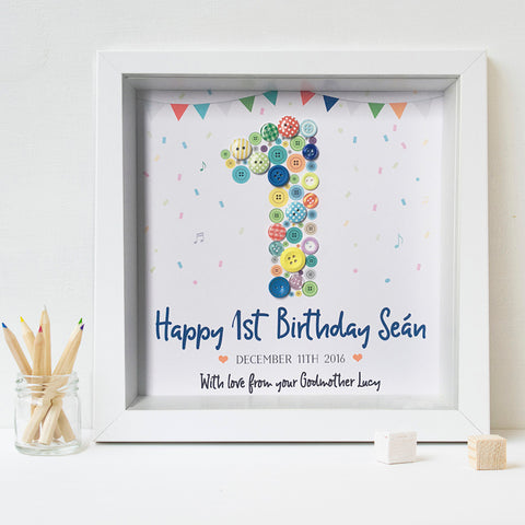 First Birthday Button Frame