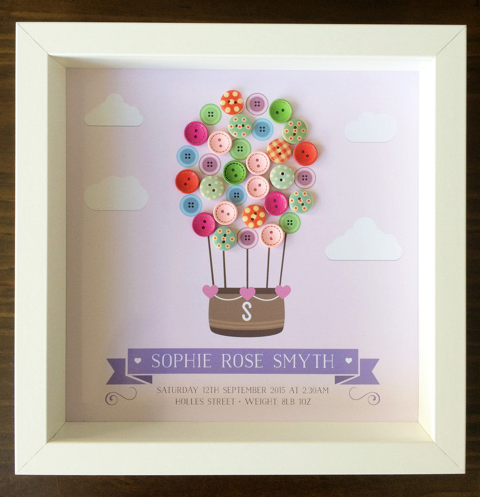 Hot Air Balloon Button Frame For A New Baby Wishing Tree Studio