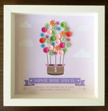 Hot air balloon button frame for Christening