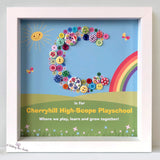 Playschool or montessori thank you gift. Button letter gift.