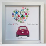Vintage car with buttons and bunting wedding frame