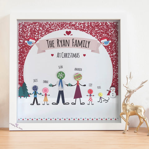 Button Family Christmas frame
