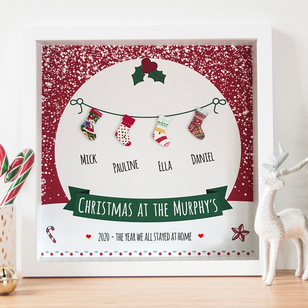 personalised Family Christmas stocking frame 2020 the year we all stayed at home