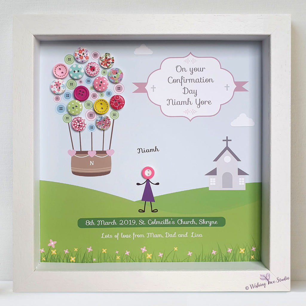 Personalised confirmation button frame - balloon