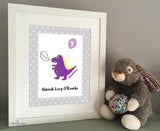 Dinosaur Birthday print (purple)