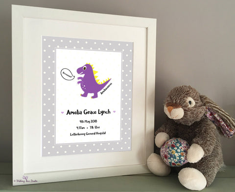 Dinosaur print for new baby (purple)