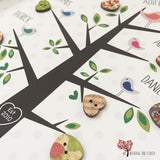 Family Tree Framed button print - detail