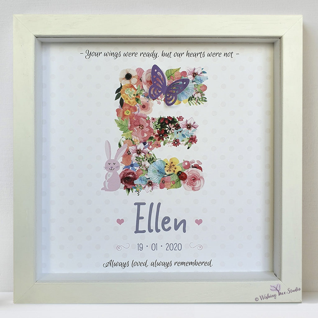 Floral Letter frame for infant loss, miscarriage, bereavement