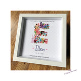 Floral letter frame for infant/child bereavement