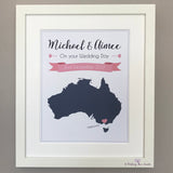 Personalised map print for engagement, wedding
