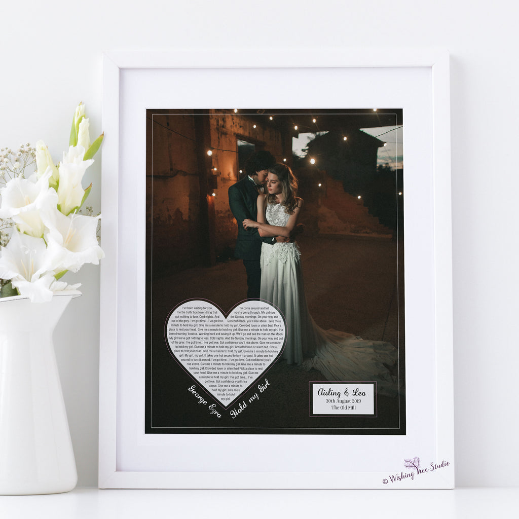 Wedding photo with song lyrics, first dance lyrics